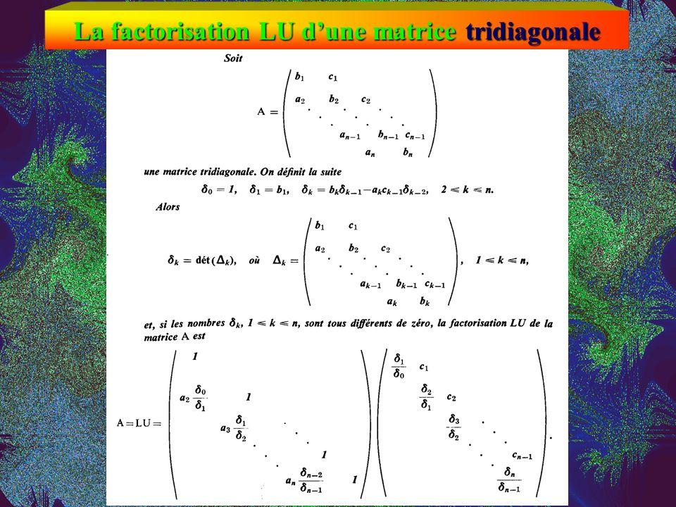 La factorisation LU d'une matrice tridiagonale