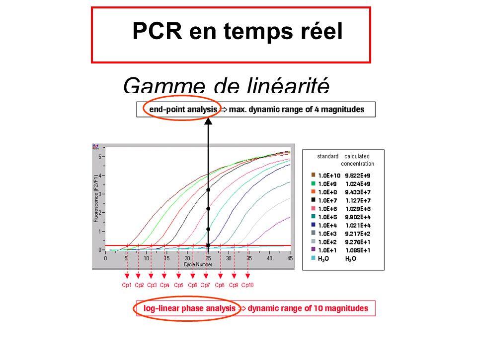 PCR en temps réel Gamme de linéarité