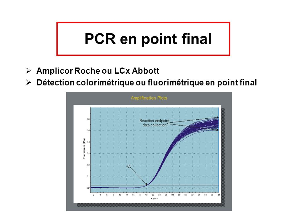 PCR en point final Amplicor Roche ou LCx Abbott