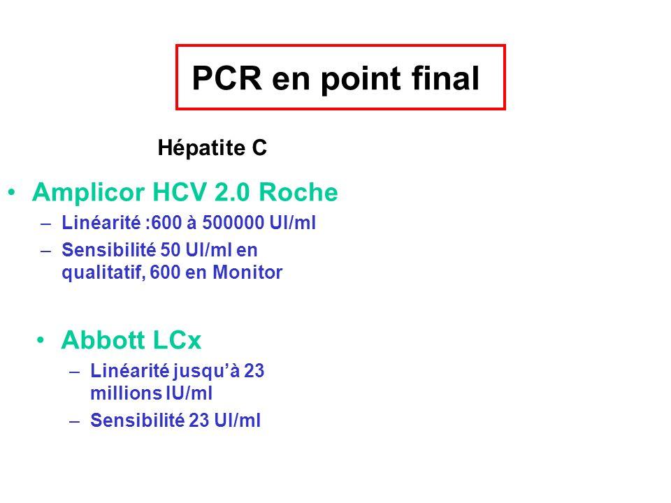 PCR en point final Amplicor HCV 2.0 Roche Abbott LCx Hépatite C