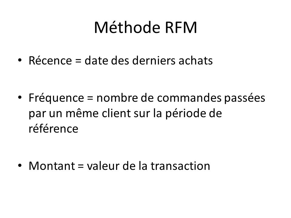 Méthode RFM Récence = date des derniers achats