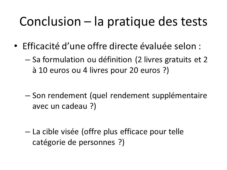 Conclusion – la pratique des tests