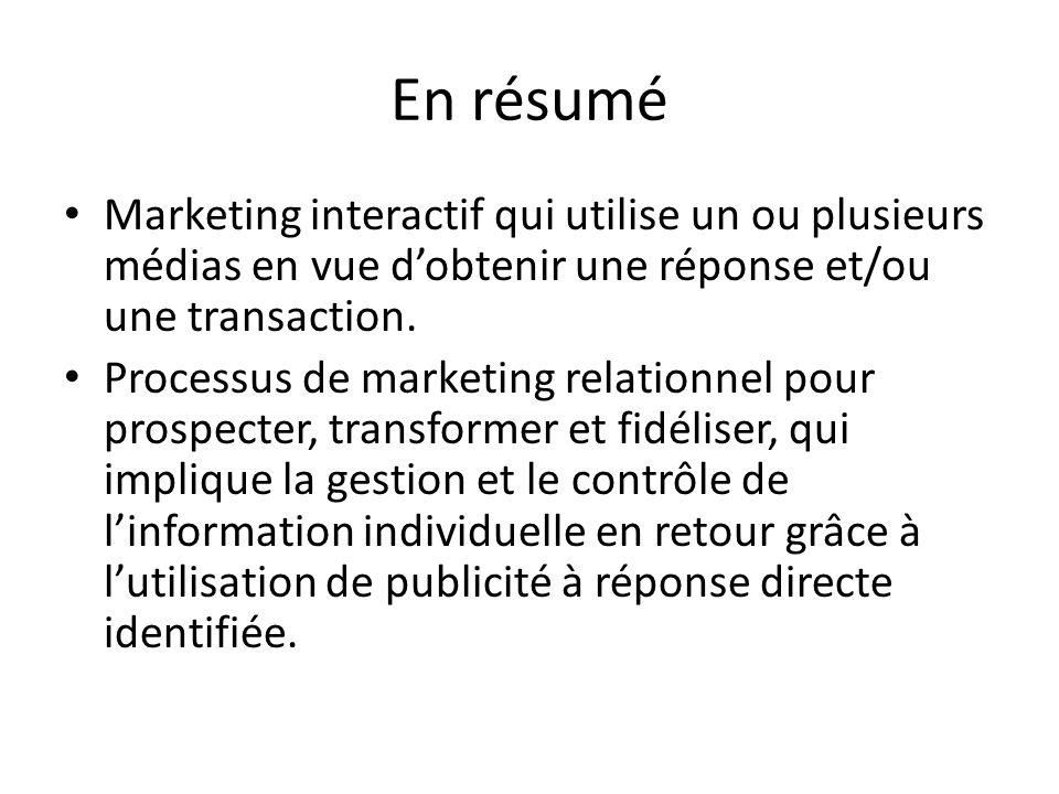 En résumé Marketing interactif qui utilise un ou plusieurs médias en vue d'obtenir une réponse et/ou une transaction.