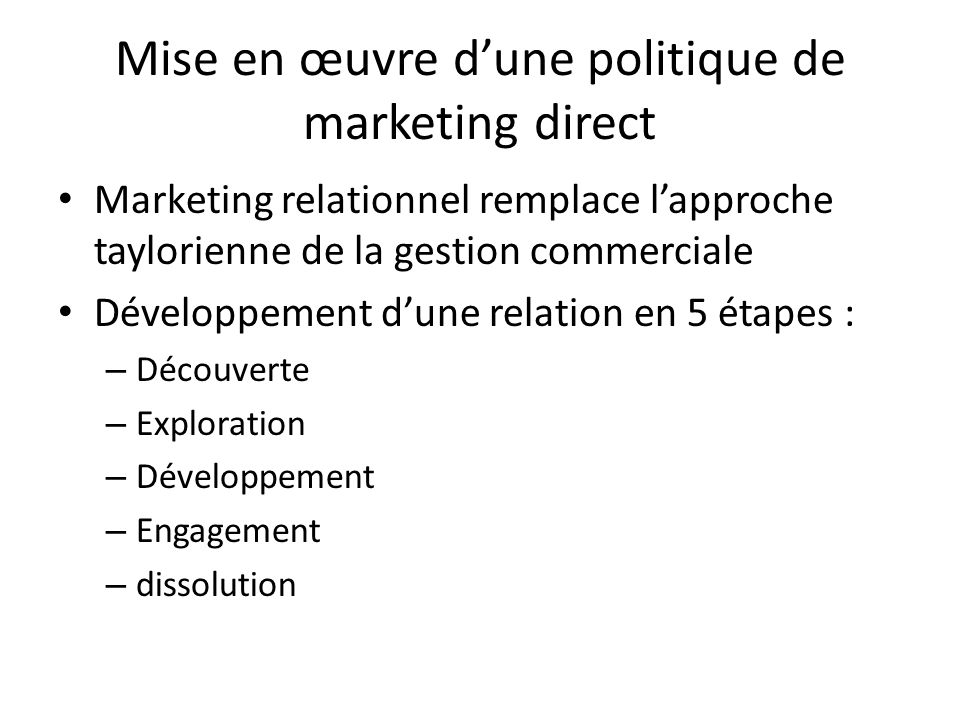 Mise en œuvre d'une politique de marketing direct