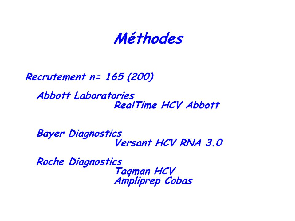 Méthodes Recrutement n= 165 (200) Abbott Laboratories