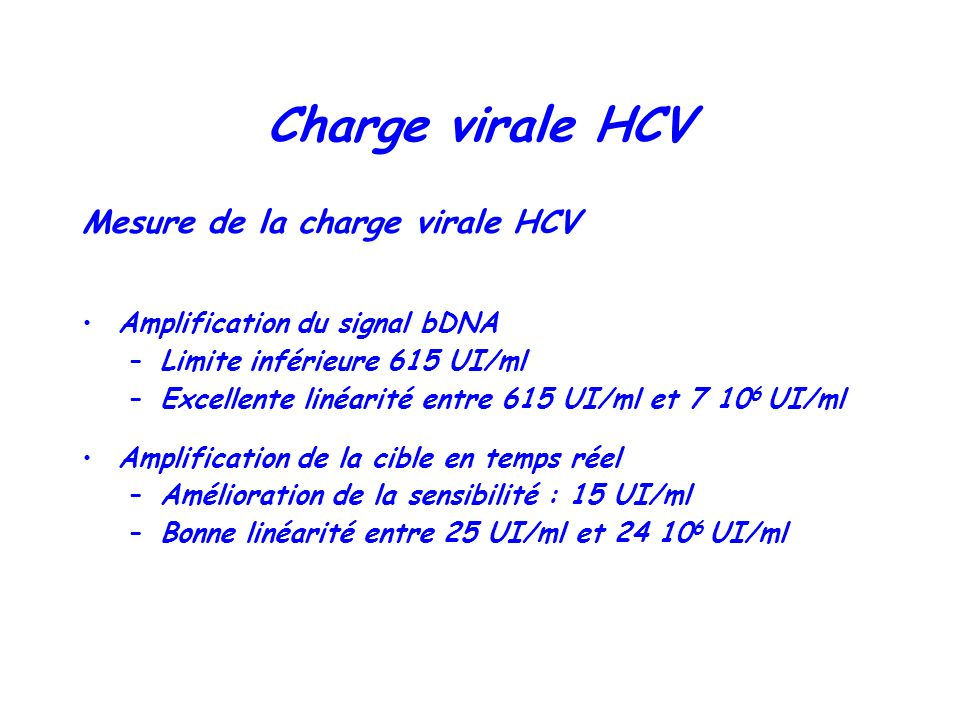 Charge virale HCV Mesure de la charge virale HCV