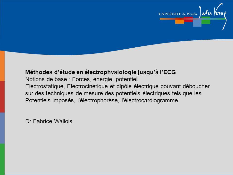 Méthodes d'étude en électrophvsioloqie jusqu'à l'ECG Notions de base : Forces, énergie, potentiel Electrostatique, Electrocinétique et dipôle électrique pouvant déboucher sur des techniques de mesure des potentiels électriques tels que les Potentiels imposés, l'électrophorèse, l'électrocardiogramme