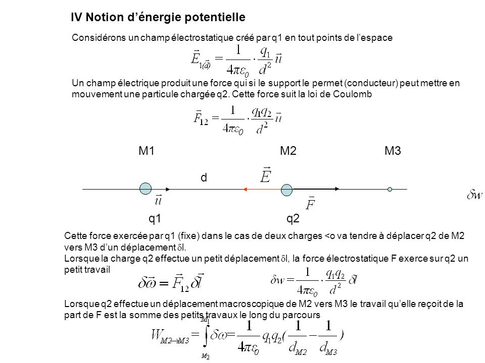 IV Notion d'énergie potentielle