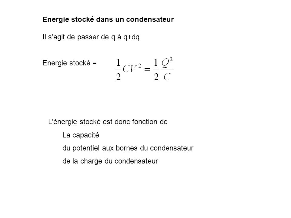 Energie stocké dans un condensateur