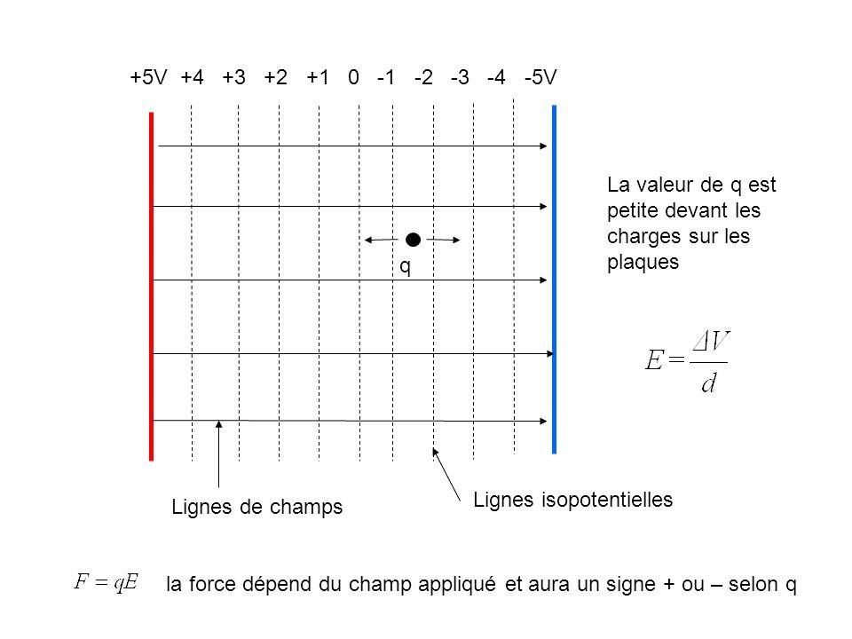 +5V +4 +3 +2 +1 0 -1 -2 -3 -4 -5V La valeur de q est petite devant les charges sur les plaques.