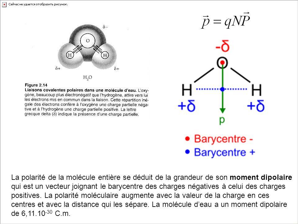 La polarité de la molécule entière se déduit de la grandeur de son moment dipolaire qui est un vecteur joignant le barycentre des charges négatives à celui des charges positives.