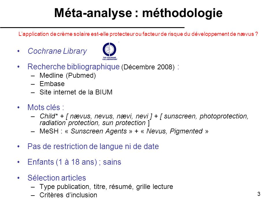 Méta-analyse : méthodologie