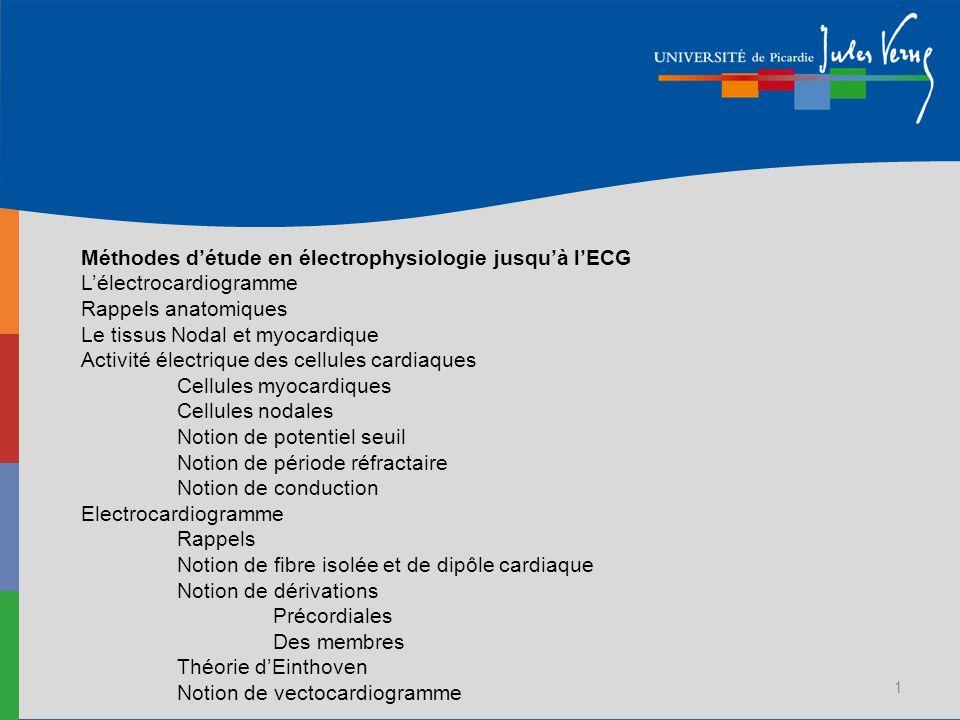 Méthodes d'étude en électrophysiologie jusqu'à l'ECG L'électrocardiogramme