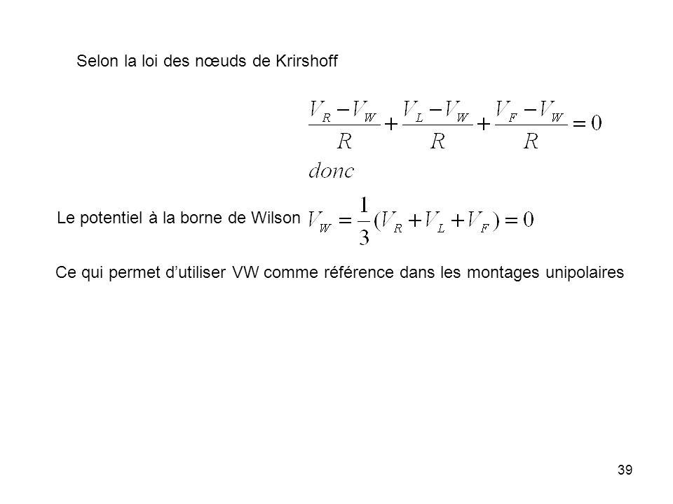 Selon la loi des nœuds de Krirshoff