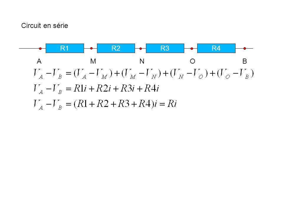 Circuit en série R1. R2. R3. R4.