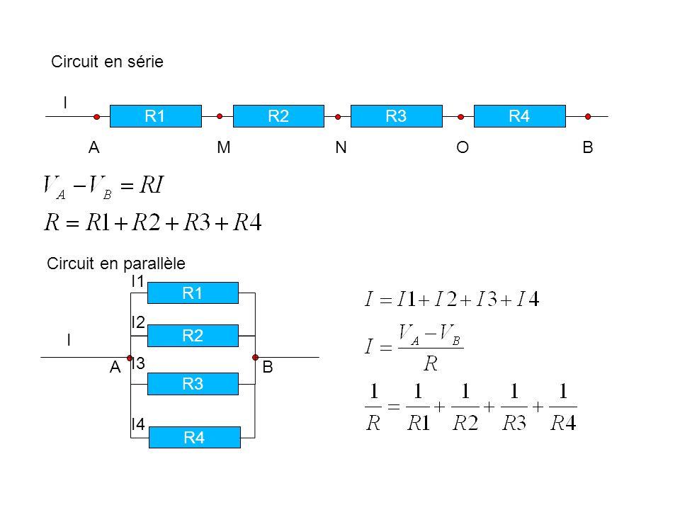 Circuit en sérieI. R1. R2. R3. R4. A M N O B.