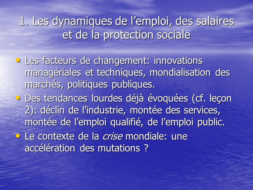1. Les dynamiques de l'emploi, des salaires et de la protection sociale