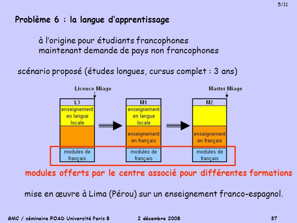 Problème 6 : la langue d'apprentissage