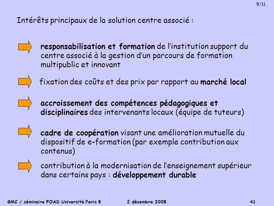 Intérêts principaux de la solution centre associé :