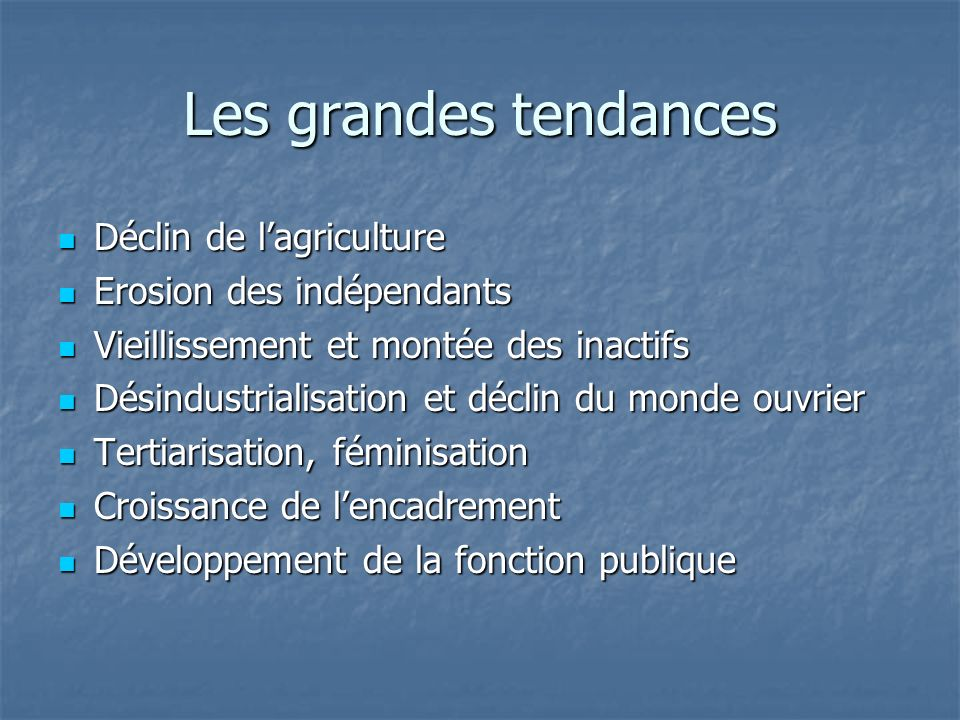 Les grandes tendances Déclin de l'agriculture Erosion des indépendants