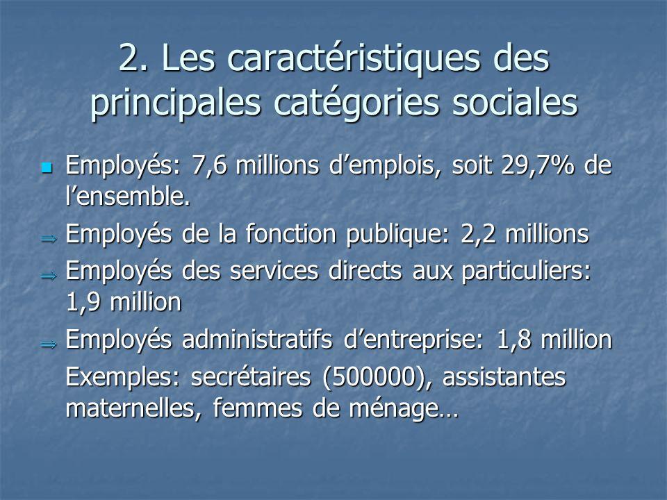 2. Les caractéristiques des principales catégories sociales