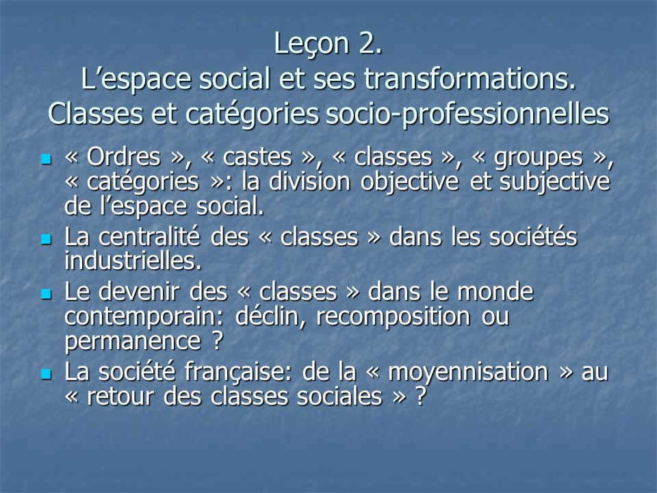 Leçon 2. L'espace social et ses transformations