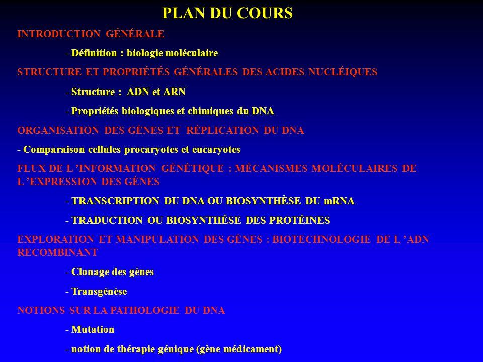 PLAN DU COURS INTRODUCTION GÉNÉRALE