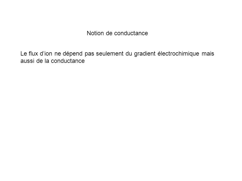 Notion de conductance Le flux d'ion ne dépend pas seulement du gradient électrochimique mais aussi de la conductance.