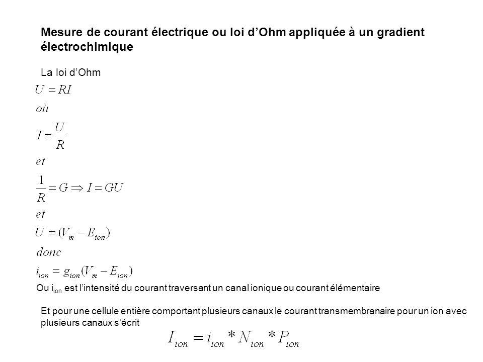Mesure de courant électrique ou loi d'Ohm appliquée à un gradient électrochimique