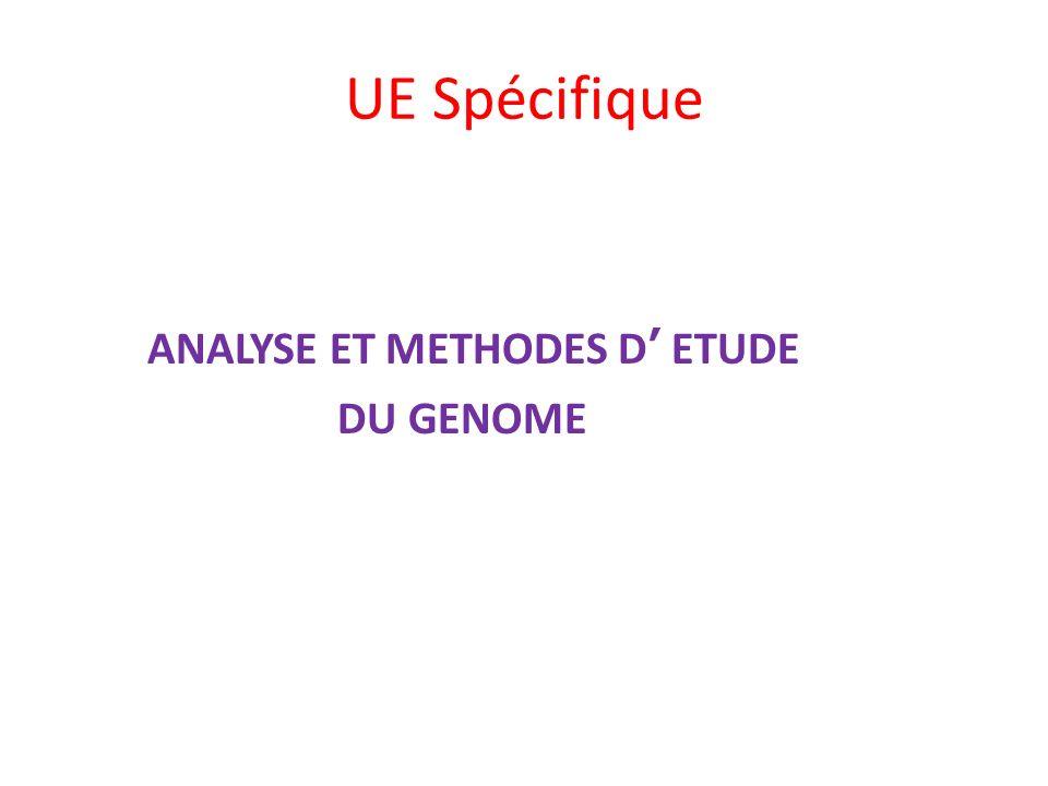 UE Spécifique ANALYSE ET METHODES D' ETUDE DU GENOME