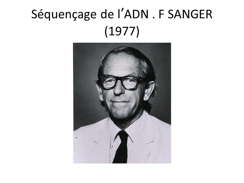 Séquençage de l'ADN . F SANGER (1977)