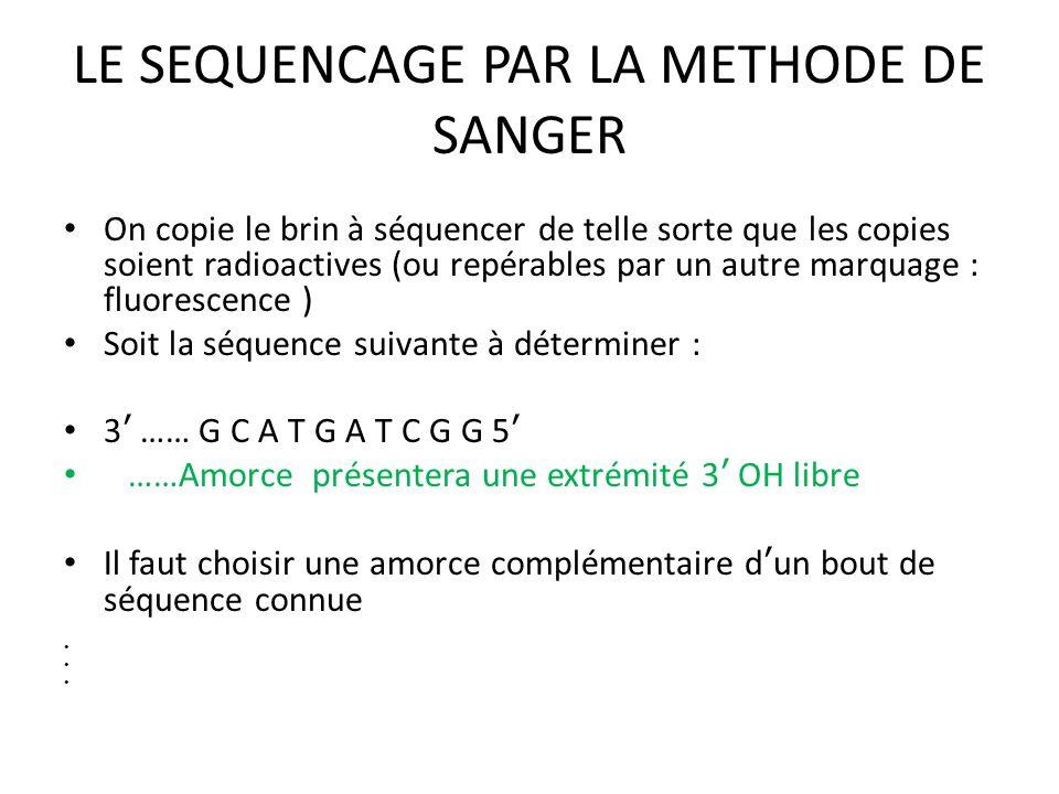 LE SEQUENCAGE PAR LA METHODE DE SANGER