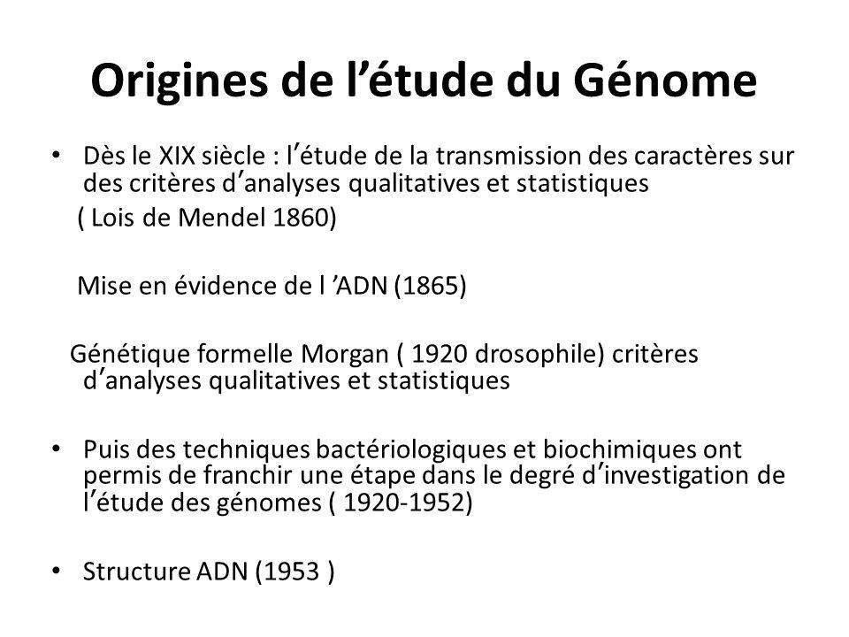Origines de l'étude du Génome