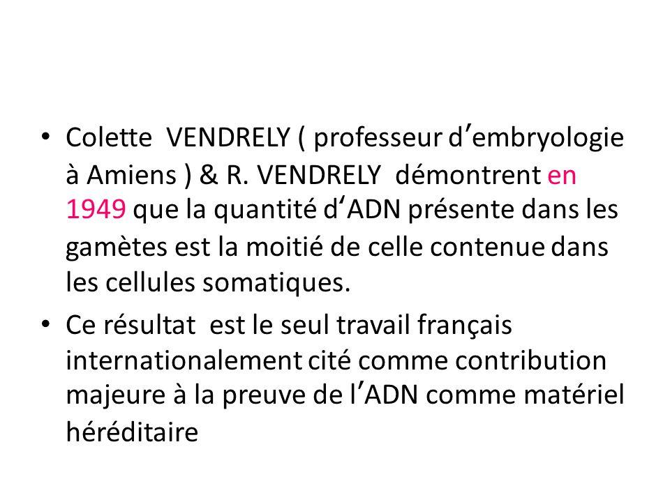 Colette VENDRELY ( professeur d'embryologie à Amiens ) & R