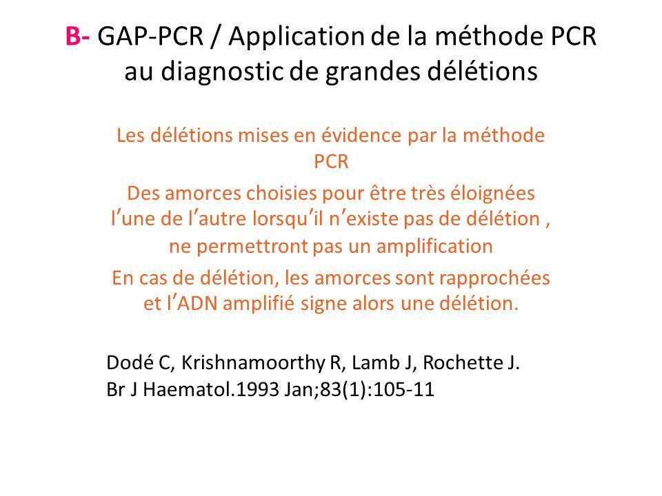 Les délétions mises en évidence par la méthode PCR