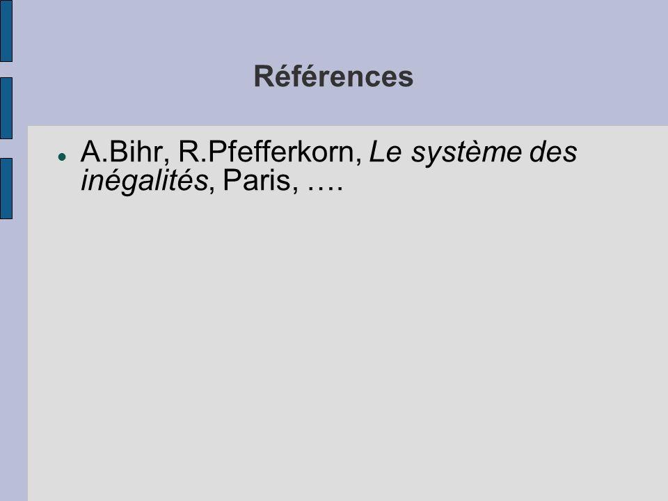 Références A.Bihr, R.Pfefferkorn, Le système des inégalités, Paris, ….