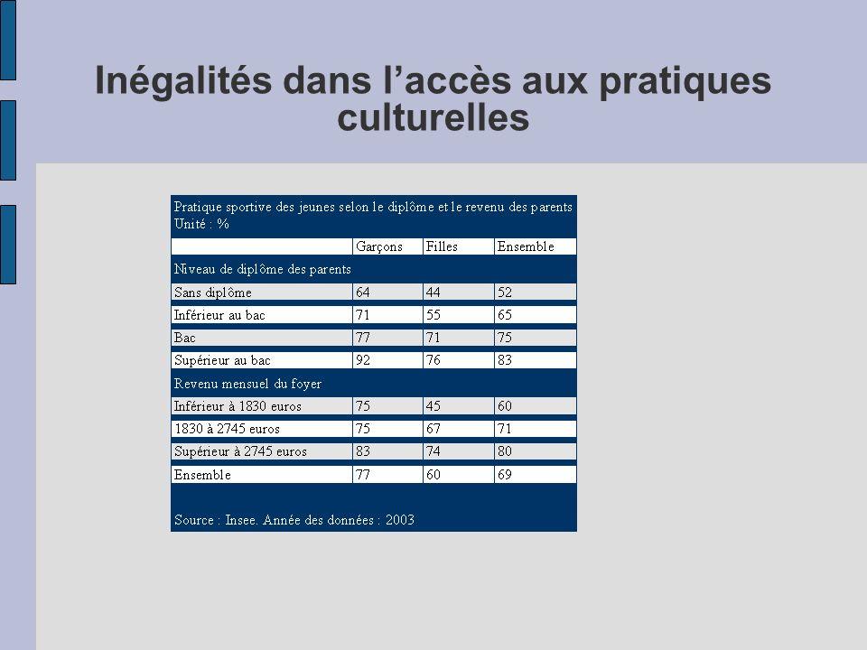 Inégalités dans l'accès aux pratiques culturelles