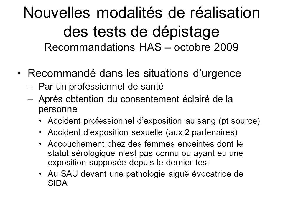 Nouvelles modalités de réalisation des tests de dépistage Recommandations HAS – octobre 2009