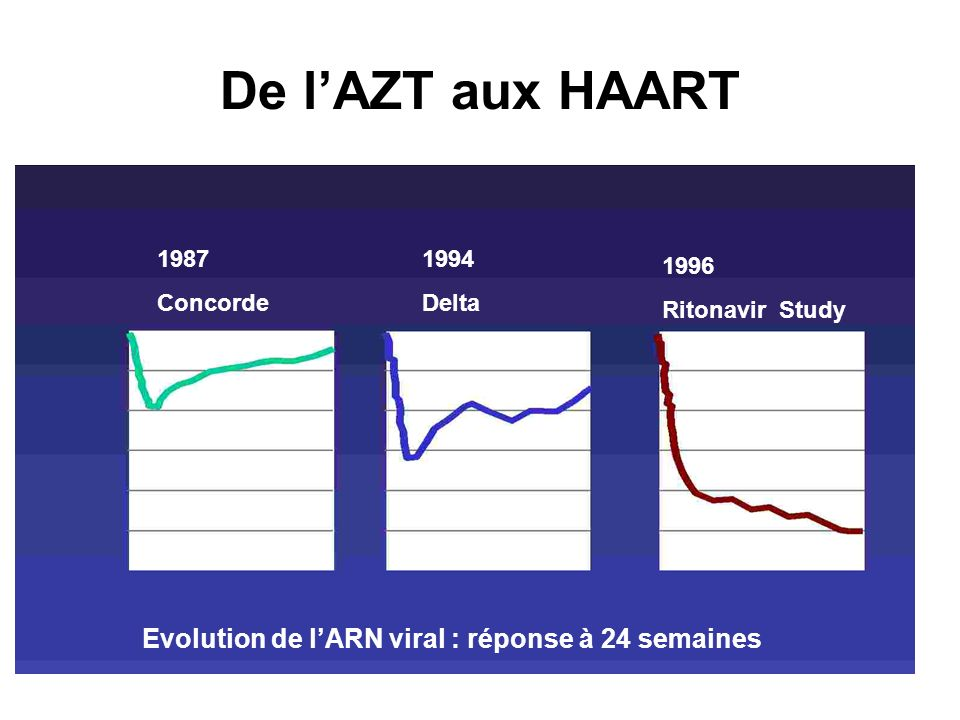 De l'AZT aux HAART Evolution de l'ARN viral : réponse à 24 semaines