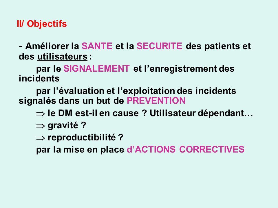 - Améliorer la SANTE et la SECURITE des patients et des utilisateurs :