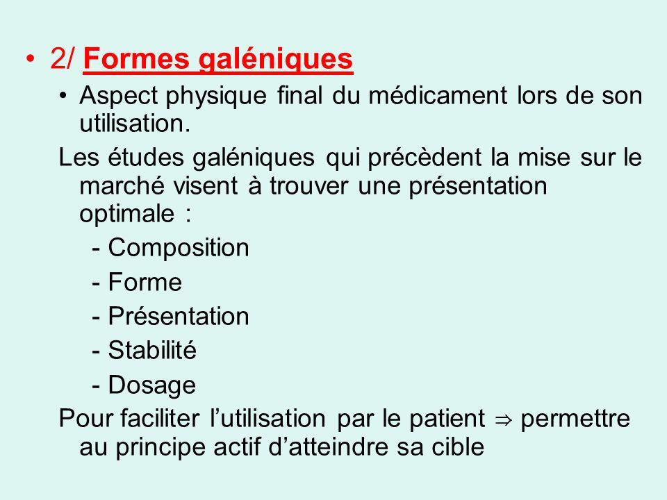 2/ Formes galéniques Aspect physique final du médicament lors de son utilisation.