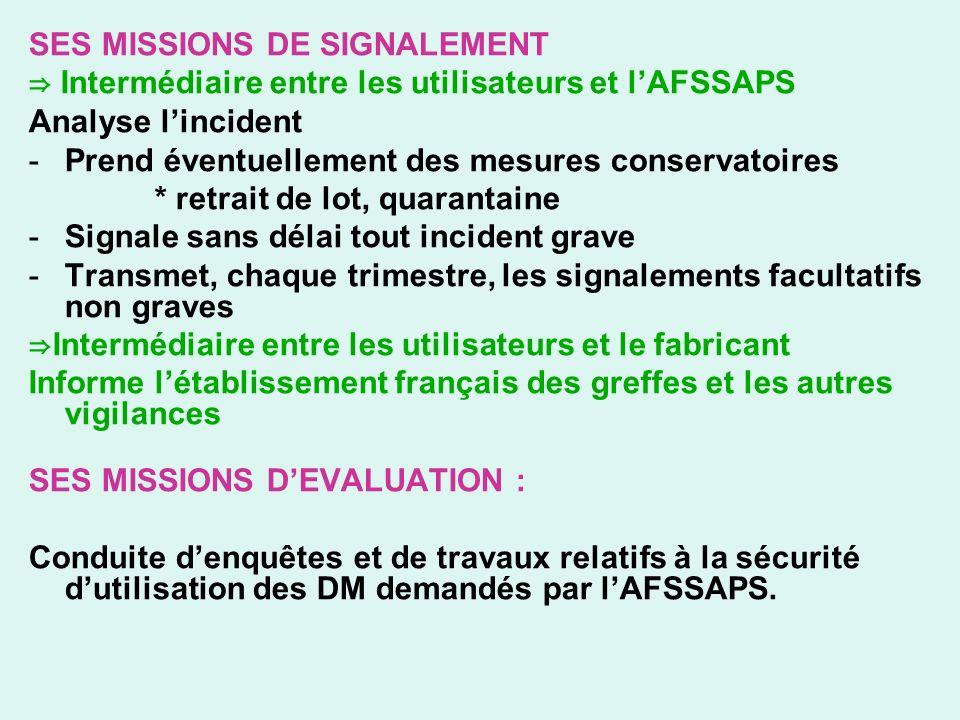 SES MISSIONS DE SIGNALEMENT