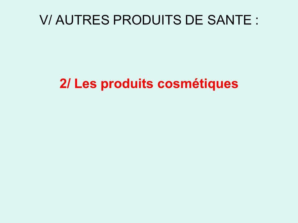 V/ AUTRES PRODUITS DE SANTE : 2/ Les produits cosmétiques