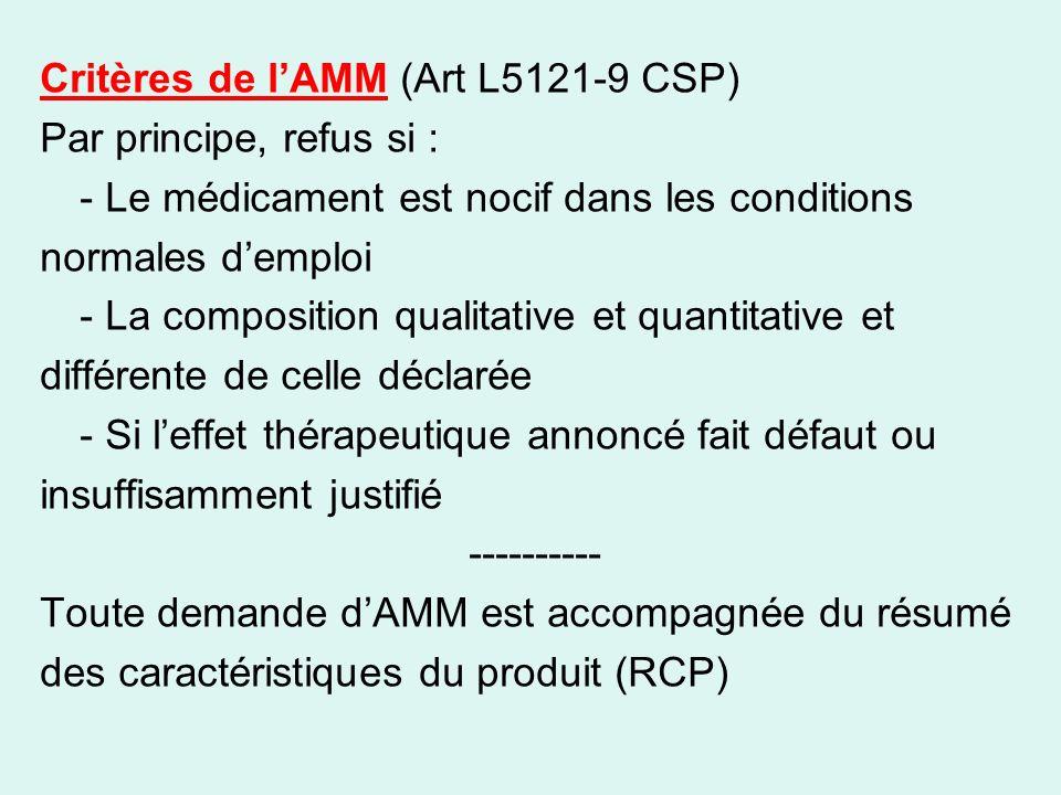 Critères de l'AMM (Art L5121-9 CSP)