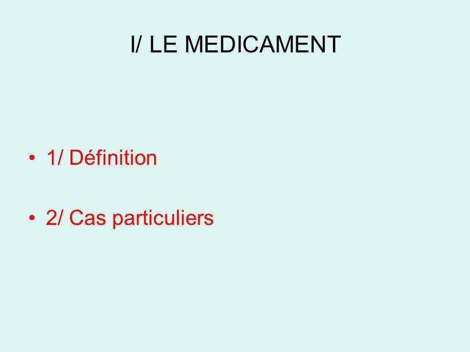 I/ LE MEDICAMENT 1/ Définition 2/ Cas particuliers