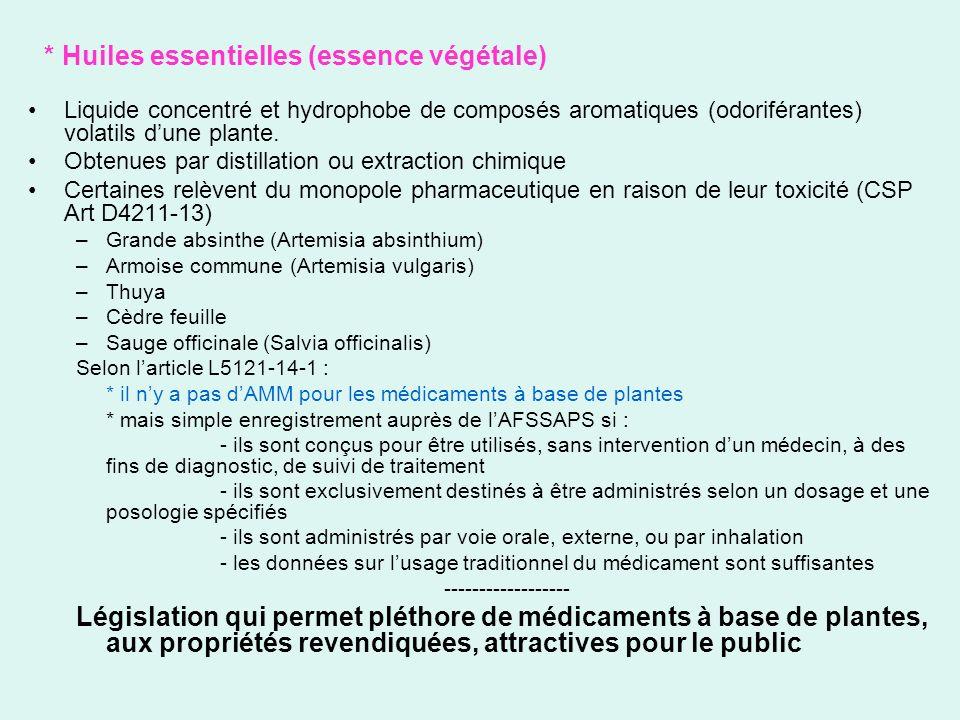 * Huiles essentielles (essence végétale)