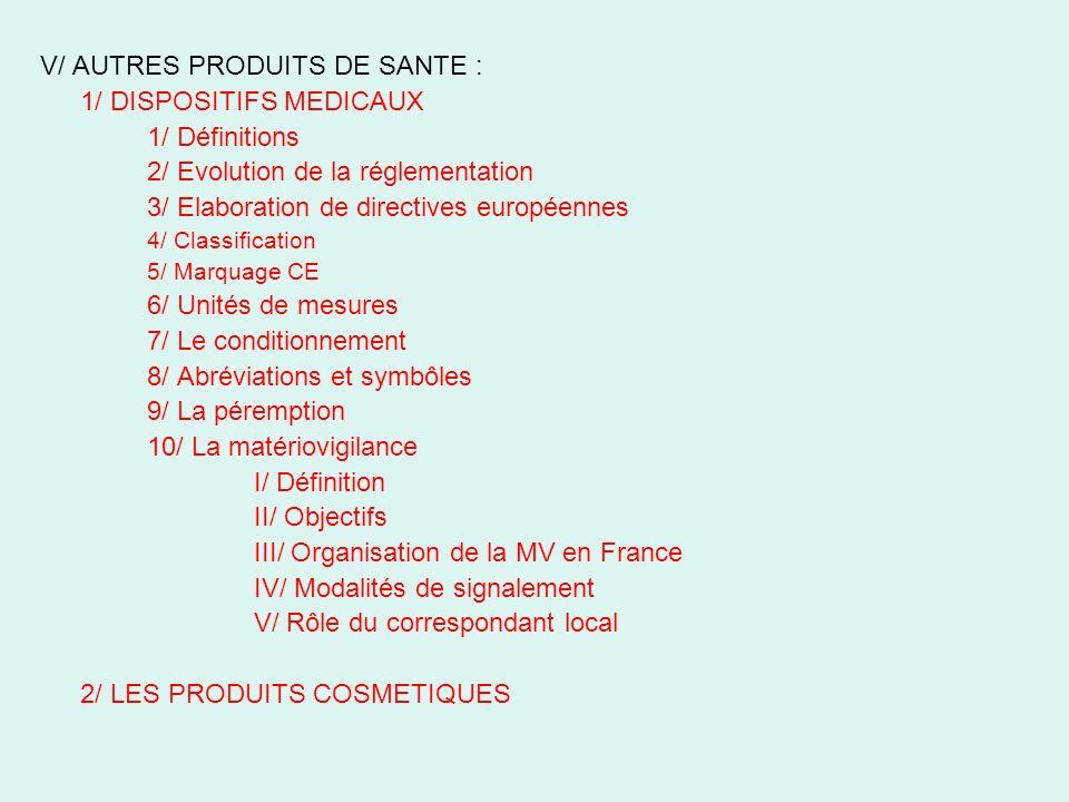 V/ AUTRES PRODUITS DE SANTE : 1/ DISPOSITIFS MEDICAUX 1/ Définitions