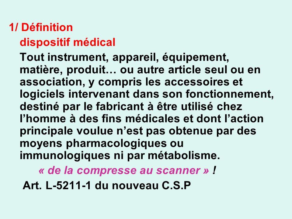 1/ Définition dispositif médical.