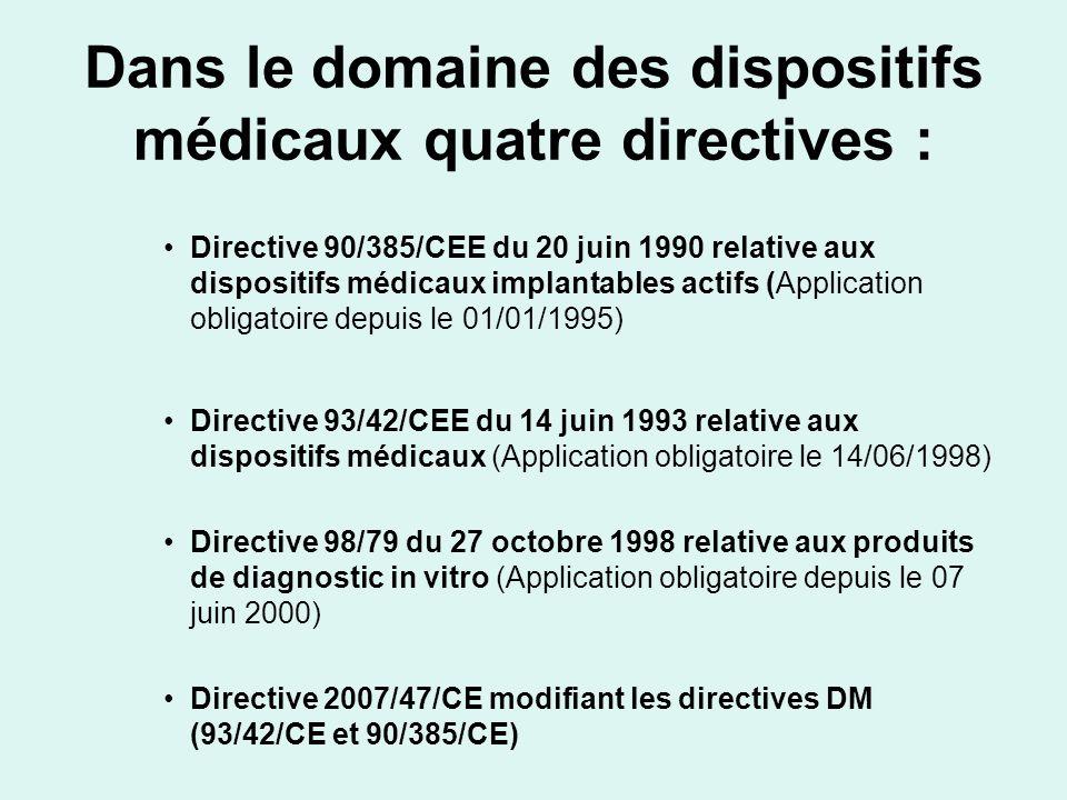 Dans le domaine des dispositifs médicaux quatre directives :