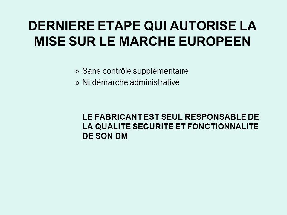 DERNIERE ETAPE QUI AUTORISE LA MISE SUR LE MARCHE EUROPEEN